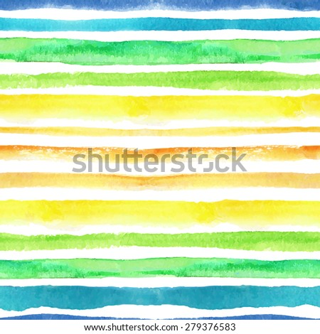 Watercolor seamless pattern borders.Blue, green, yellow,orange horizontal strips.Hand drawing painting background .For Backdrop, fabric,Wallpaper.Fashion .Vector.Summer,travel, vacation design.