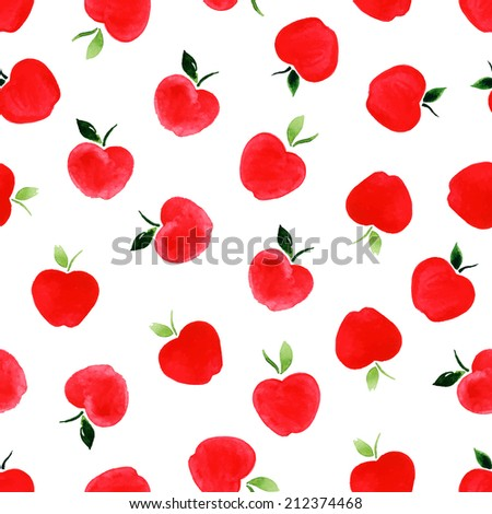 Watercolor seamless pattern with apples on the white background. Vector illustration. Hand drawn background.  - stock vector