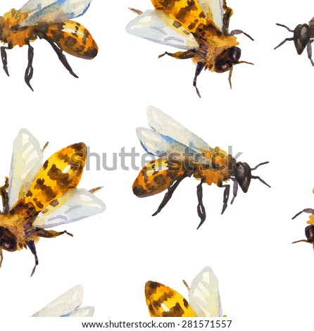 Watercolor seamless pattern with bee over white, Vector