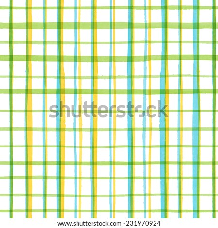Watercolor seamless pattern with check and stripes for trendy romantic design / Vector Illustration - stock vector