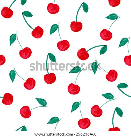 Watercolor seamless pattern with cherries on white background. Vector illustration - stock vector