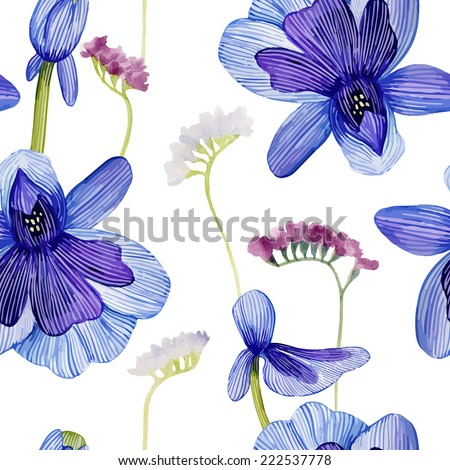 Watercolor seamless pattern with flowers. - stock vector