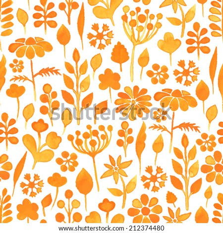Watercolor seamless pattern with flowers and leaves on the white background. Vector illustration. Hand drawn background.