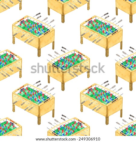 Watercolor seamless pattern with foosball tables on the white background, aquarelle. Vector illustration. Hand-drawn decorative element useful for invitations, scrapbooking, design. - stock vector