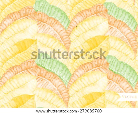 Watercolor seamless pattern with frangipani leaves. Tropical background with hand painted illustration of palm leaves. - stock vector