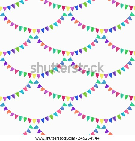 Watercolor seamless pattern with garlands on the white background, aquarelle. Vector illustration. Hand-drawn decorative element useful for invitations, scrapbooking, design. Birthday party - stock vector