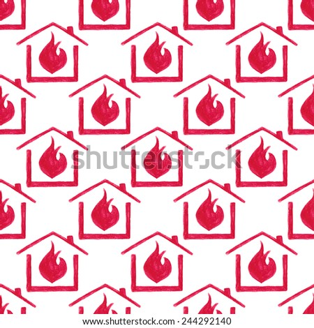 Watercolor seamless pattern with house in fire on the white background, aquarelle pencil.  Vector illustration. Hand-drawn simple decorative element useful for stands, posters, design. - stock vector