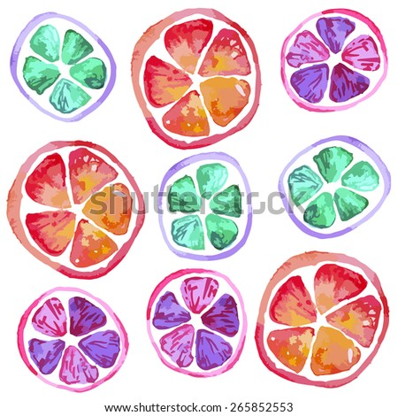 watercolor seamless pattern with limes and lemon and grapefruit slices
