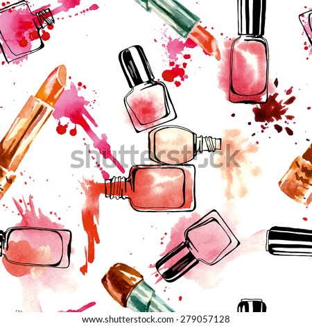 Watercolor seamless pattern with nail polish and lipstick. Vector illustration. - stock vector