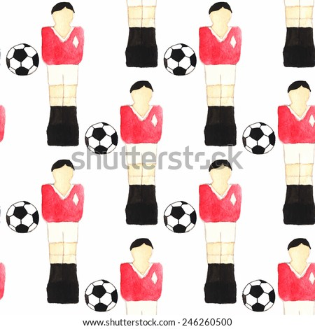 Watercolor seamless pattern with oldfashioned foosball players and ball on the white background. Vector illustration. Hand-drawn decorative element useful for invitations, scrapbooking, design.  - stock vector