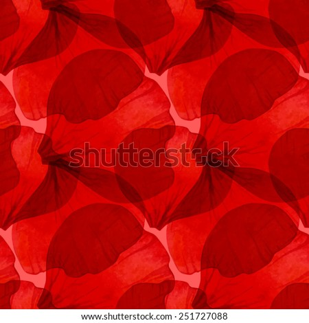 Watercolor Seamless pattern with red flower petal . Vectorized watercolor drawing. - stock vector