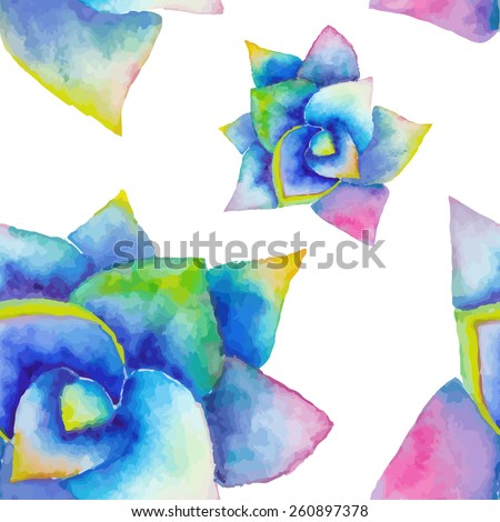 Watercolor seamless pattern with succulent. Hipster background with bright agave. Wedding design template. - stock vector