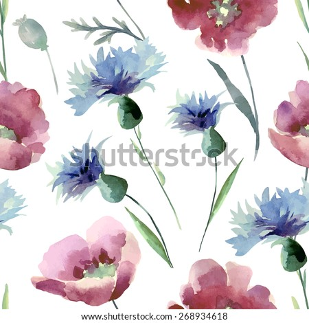 Watercolor seamless pattern with summer flowers. Background for your design and decor.