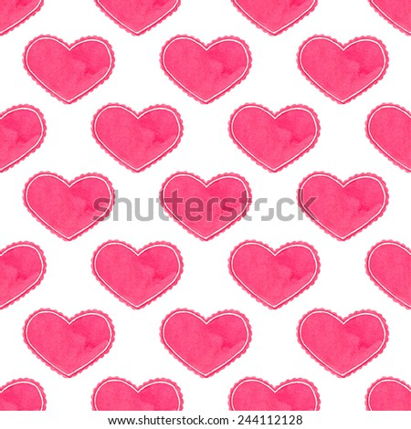 Watercolor seamless pattern with victorian heart on the white background, aquarelle.  Vector illustration. Hand-drawn decorative element useful for invitations, scrapbooking, design. - stock vector