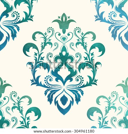 Watercolor seamless wallpapers in the style of Baroque . Can be used for backgrounds and page fill web design. Vector Illustration - stock vector