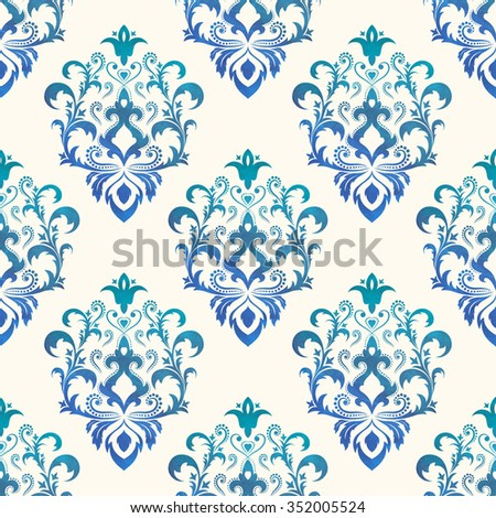 Watercolor seamless wallpapers in the style of Baroque . Can be used for backgrounds and page fill web design. Vector Illustration. - stock vector