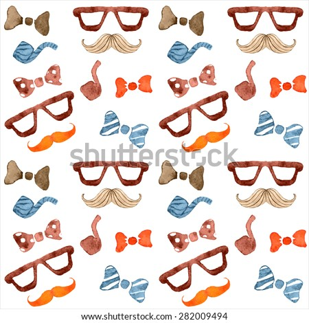 Watercolor seamless with men's accessories : bow tie, tobacco pipe and mustaches,   Color pattern father day Mustache, Pattern men's attributes Texture.  - stock vector
