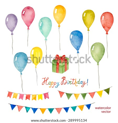 Watercolor set for holiday,birthday balloons, flags, gift, vector illustration. - stock vector