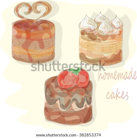 watercolor set hand draw sweet cakes. EPS10 - stock vector