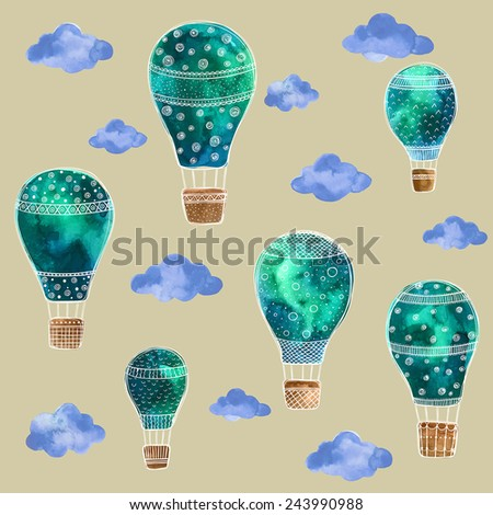 Watercolor set of balloons in the sky with clouds - stock vector