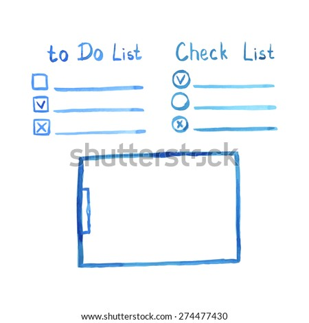 Watercolor set of Clipboard and variants of check list and to do list, Business background, Vector illustration.  - stock vector