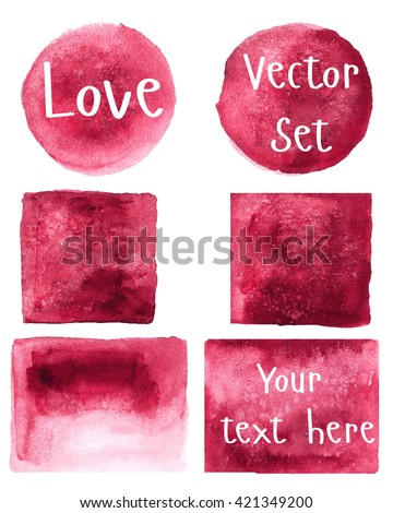 Watercolor set of objects. Burgundy, red. Round, square, rectangle. Vector. - stock vector
