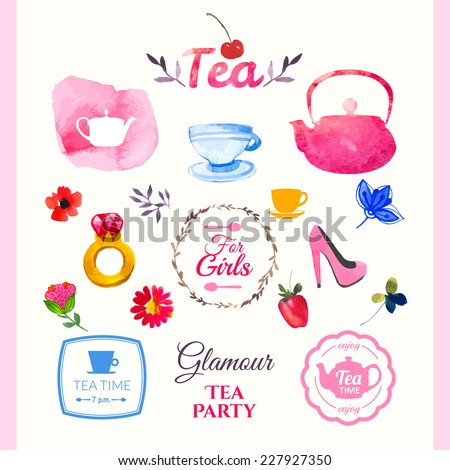 Watercolor set tea elements. The tradition of drinking tea. Set of decorative elements in glamorous style, handmade - stock vector
