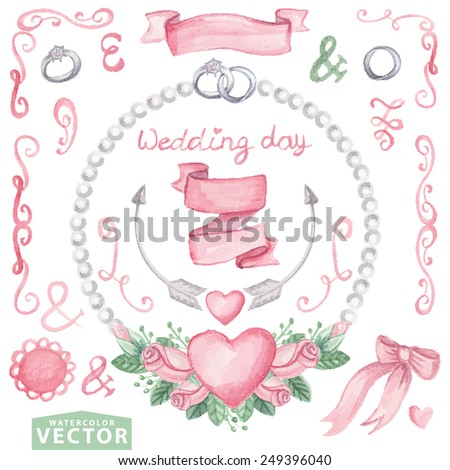 Watercolor set  wedding set with floral wreath of pink roses.Cute vintage elements,swirls,arrow,ribbon,hearts,rings,pearl necklace.Hand drawing painting.Vector for invitation,card,template. - stock vector