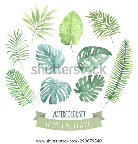 Watercolor set with tropical leaves. Vector element for your design. - stock vector