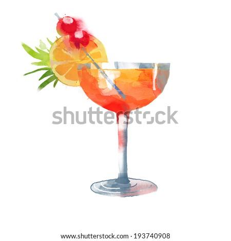 Watercolor Sex on the beach cocktail. Vector  - stock vector