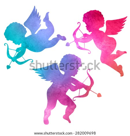 watercolor silhouette of an angel.watercolor painting on white background - stock vector