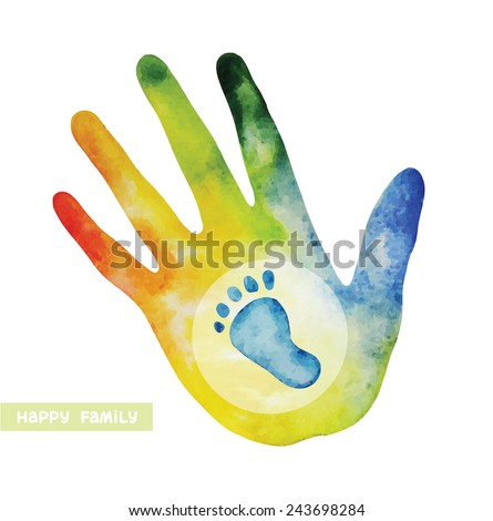Watercolor silhouette of human hand and baby's footprint. Logo of happy family. - stock vector