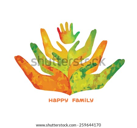 Watercolor silhouette of human hand and baby's hand-print. Logo of happy family. - stock vector