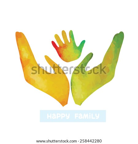 Watercolor silhouette of human hand and baby's handprint. Logo of happy family.  - stock vector