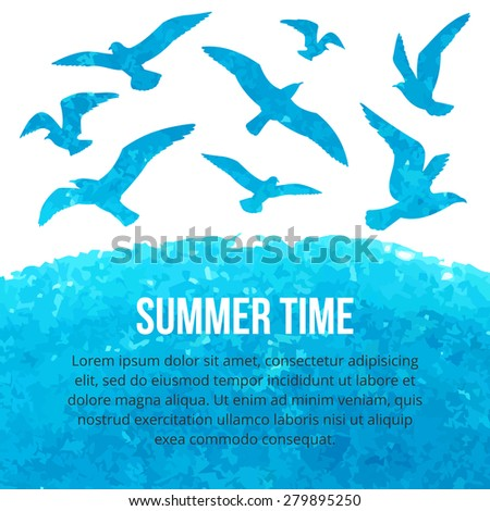 Watercolor silhouettes of seagulls flying over the sea. Vector illustration. Summer time - stock vector