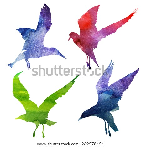 Watercolor silhouettes of seagulls. vector illustration - stock vector