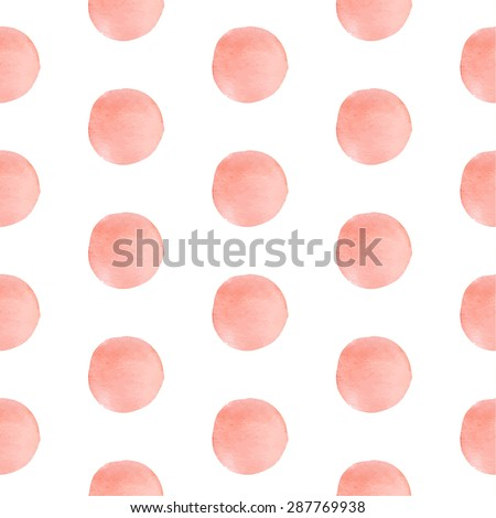 Watercolor simple pastel pink polka dots. Seamless pattern on the white background. Vector illustration. - stock vector