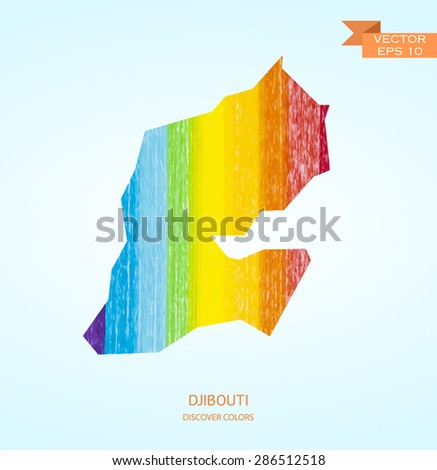 Watercolor sketch map of Djibouti isolated on background. Vector version