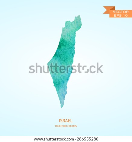 watercolor sketch map of Israel isolated on background. Vector version - stock vector