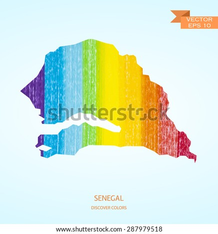 Watercolor sketch map of Senegal isolated on background