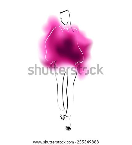Watercolor sketch of a fashion model. Vector illustration - stock vector