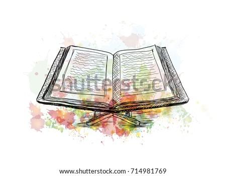 Watercolor Sketch Quran Book Vector Illustration Stock Vector ...