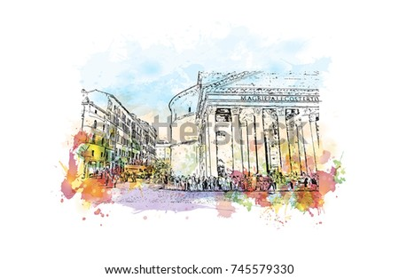 Watercolor Sketch With Color Splash Of Street View Pantheon Rome Italy In Vector Illustration