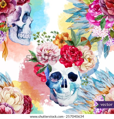 watercolor, skull, flowers, indian, boho, ethnic, pattern, wallpaper, background - stock vector