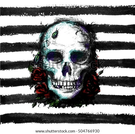 Watercolor Skull with flowers on stripe background - vector illustration.