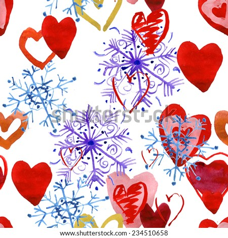 Watercolor snowflakes and hearts pattern for Christmas and New Year and winter. Vector  - stock vector
