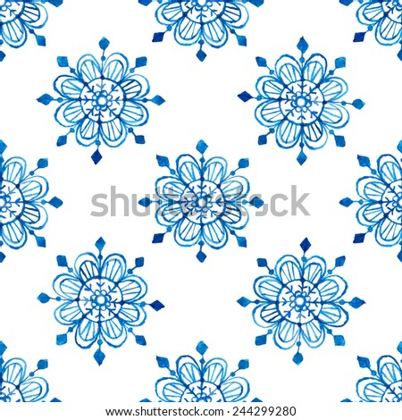 Watercolor snowflakes seamless pattern. Vector illustration - stock vector