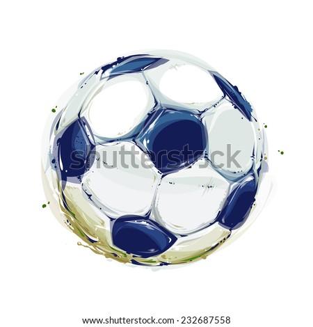 Watercolor Soccer Ball - stock vector