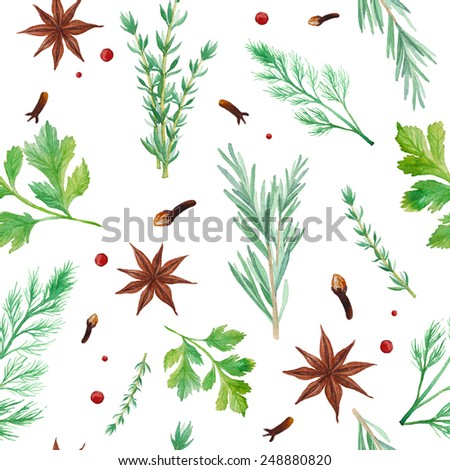 Watercolor spices seamless pattern. Hand drawn food texture with rosemary, thyme, anise, pepper,  dill, parsley. Background with artistic objects on white - stock vector