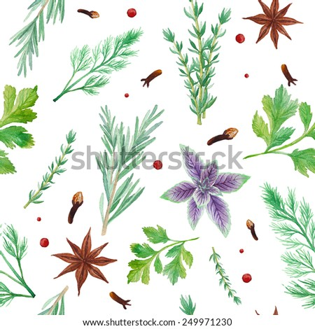 Watercolor spices seamless pattern. Hand drawn food texture with rosemary, thyme, anise, pepper,  dill, parsley, basil. Background with artistic objects on white - stock vector